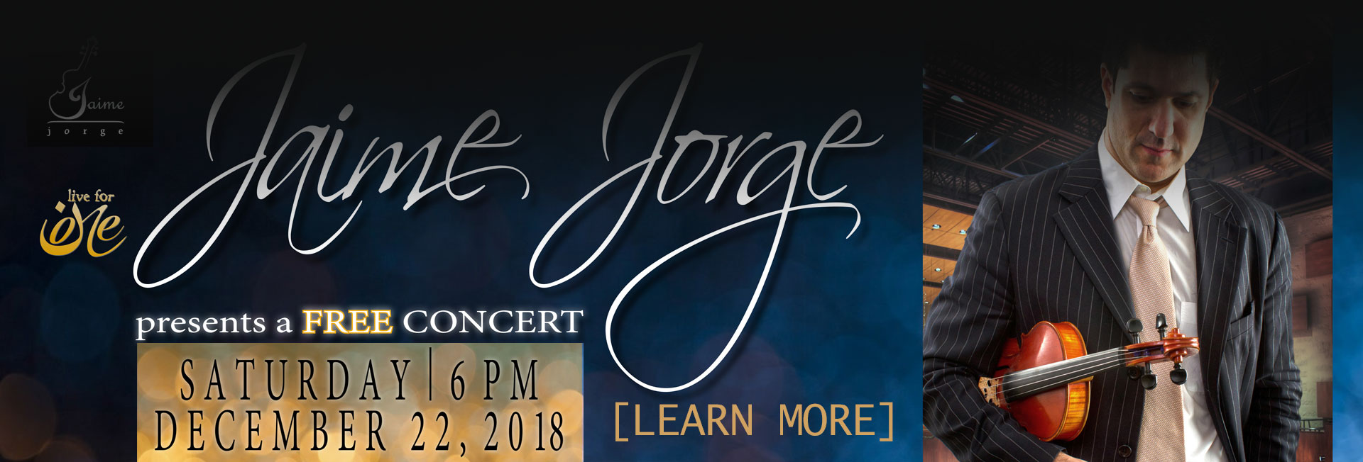 Jaime Jorge Free Concert Saturday December 22 at 6PM